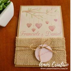 Convite de Casamento Chuva de Corações