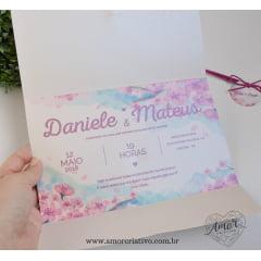 Convite de Casamento Flor de Cerejeira