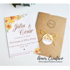 Convite de Casamento Girassóis